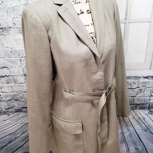 Max Studio  Cream Tan Wool 2 Pockets Fitted Blazer